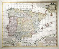A New & Accurate Map Of Spain And Portugal Drawn From Surveys Assisted By Ye Most Approved Modern Maps And Charts.  The Whole Being Regulated By Astronomical Observations. : E. Bowen