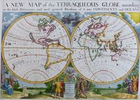 A New Map Of The Terraqueous Globe According To The Latest Discoveries : E. Wells