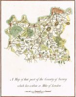 A Map Of That Part Of The County Of Surrey Which Lies Within 12 Miles Of London : D. Lysons