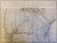 A New Map Of Georgia With Part Of Carolina, Florida... Louisiana : E. Bowen