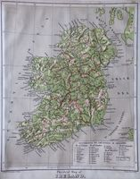 Physical Map Of Ireland / Political Map Of Ireland : G. Phillips Bevan