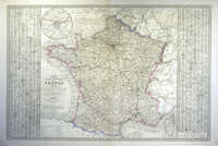 Carte Routiere Et Administrative De La France ... 1845