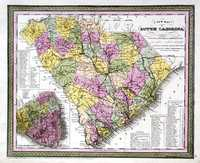 A New Map Of South Carolina With Its Canals, Roads & Distances