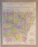 A New Map Of Arkansas With Its Canals, Roads & Distances