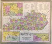 A New Map Of Kentucky With Its Roads And Distances...