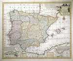 A New & Accurate Map Of Spain And Portugal Drawn From Surveys Assisted By Ye Most Approved Modern Maps And Charts.  The Whole Being Regulated By Astronomical Observations.